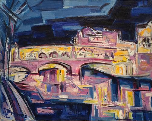 Drewes Ponte Veccio at Night 1961 28 x 36 WEB