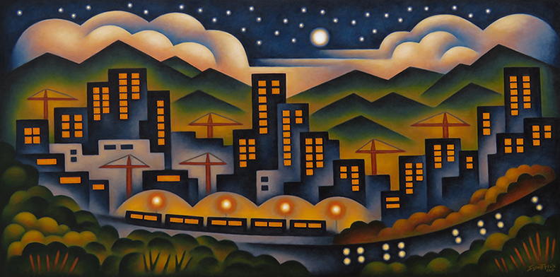 Sushe Felix Cranes Trains & Automobiles 24 x 48 acrylic on panel WEB2