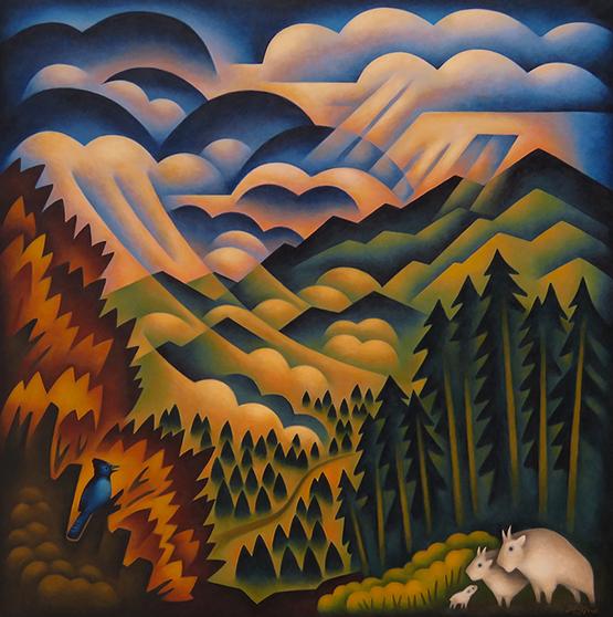 Sushe Felix Layers of Mountain Squalls 48  x 48 acrylic on panel WEB