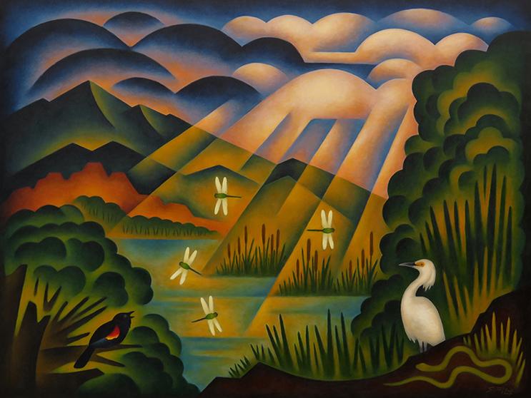 Sushe Felix Pools of Light 36 x 48 acrylic on panel WEB