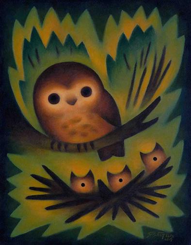 sushe-felix-owl-mommy-14-x-11-acrylic-on-panel-web